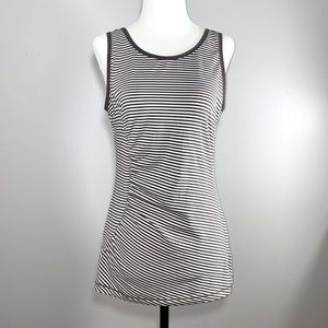 Lolë Low Back Striped Gray and White Ruched Side Tank Top Size L